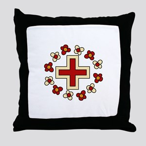 Floral Red Cross Throw Pillow