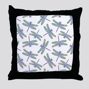 Watercolor Dragonfly Pattern Throw Pillow