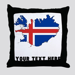 Icelandic Flag Silhouette (Custom) Throw Pillow