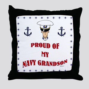 Proud Of My Navy Grandson Throw Pillow