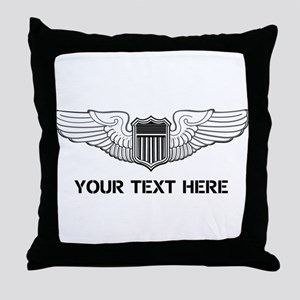 PERSONALIZED PILOT WINGS Throw Pillow