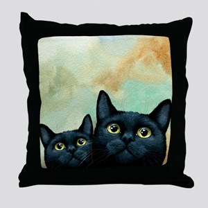 Cat 607 black Cats Throw Pillow