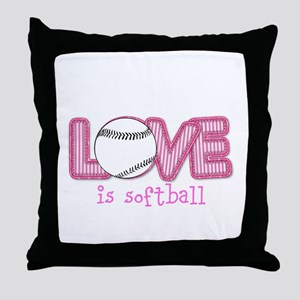 Love is Softball : Pink Throw Pillow