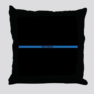 Retired Thin Blue Line Throw Pillow