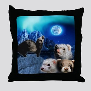The Ferret Moon Throw Pillow