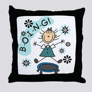 Girl on Trampoline Throw Pillow