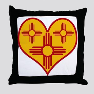 New Mexico Zia Heart Throw Pillow