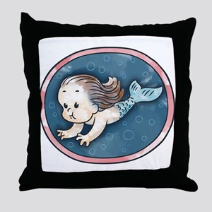 Mermaid -brunette Throw Pillow
