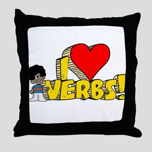 I Heart Verbs - Schoolhouse Rock! Throw Pillow