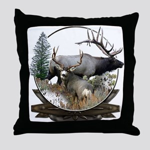 Big game elk and deer Throw Pillow
