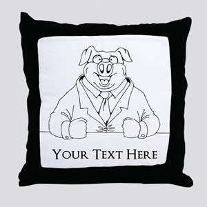 Pig in Suit. Custom Text Throw Pillow
