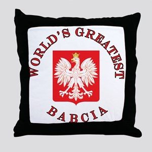 World's Greatest Babcia Crest Throw Pillow