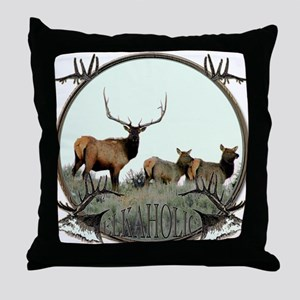 Monster bull elk elkahalic Throw Pillow