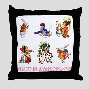 Alice & Friends in Wonderland Throw Pillow