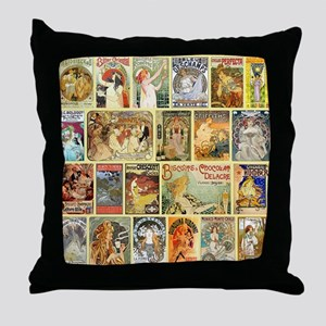 Art Nouveau Advertisements Collage Throw Pillow