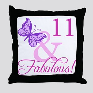 Fabulous 11th Birthday For Girls Throw Pillow