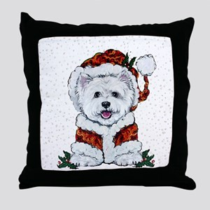 Santas Westie Helper Throw Pillow