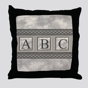 Personalizable Marble Monogram Throw Pillow