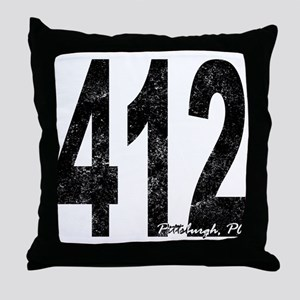Distressed Pittsburgh 412 Throw Pillow