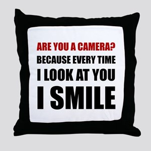 Camera Smile Throw Pillow