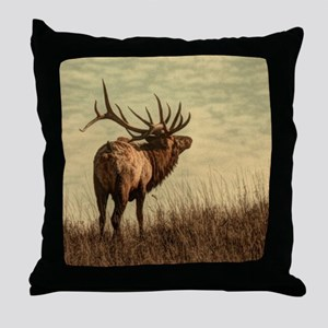 rustic western wild elk Throw Pillow