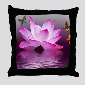 Lotus Flower with Butterfly Throw Pillow