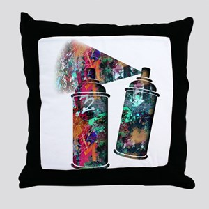 Graffiti and Paint Splatter Spray Can Throw Pillow