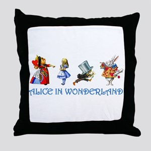 Alice and Her Friends in Wonderland Throw Pillow