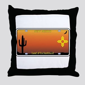 New Mexico License Plate Throw Pillow