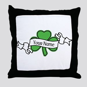 Shamrock CUSTOM TEXT Throw Pillow