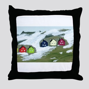 Colorful Winter Houses Throw Pillow