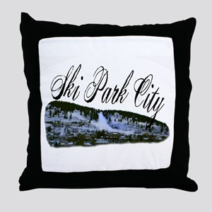 Ski Park City Throw Pillow