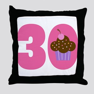 30th Birthday Cupcake Throw Pillow