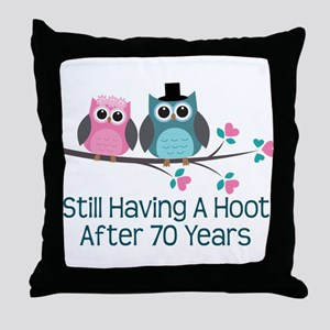 70th Anniversary Owls Throw Pillow