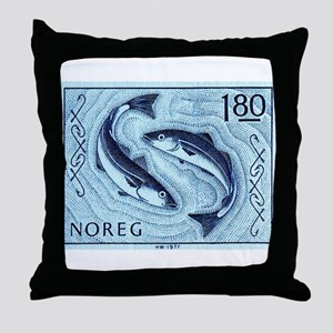 Vintage 1977 Norway Cod Postage Stamp Throw Pillow