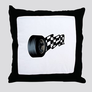 Tire with Flag Throw Pillow