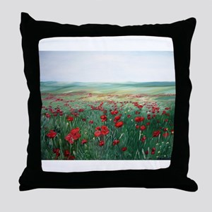 poppy poppies art Throw Pillow