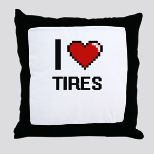 I love Tires digital design Throw Pillow