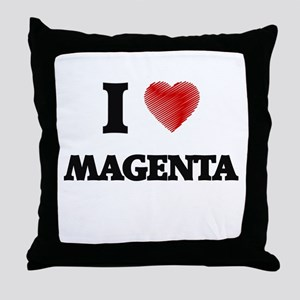 I Love Magenta Throw Pillow