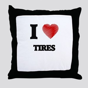 I love Tires Throw Pillow