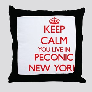 Keep calm you live in Peconic New Yor Throw Pillow