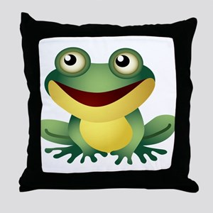 Green Cartoon Frog-4 Throw Pillow
