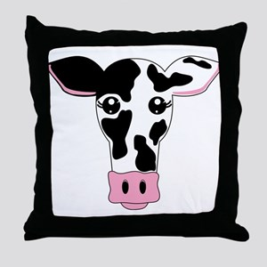 Sweet Cow Face Design Throw Pillow