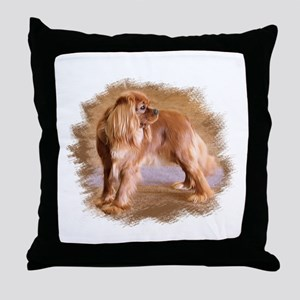 Cavalier King Charles Spaniel Ruby Throw Pillow
