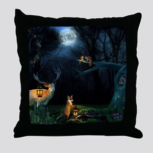 Magic Forest Wildlife Throw Pillow