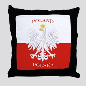 Poland Polska White Eagle Flag Throw Pillow