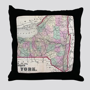 Vintage Map of New York (1873) Throw Pillow