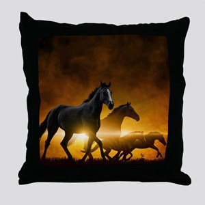 Wild Black Horses Throw Pillow