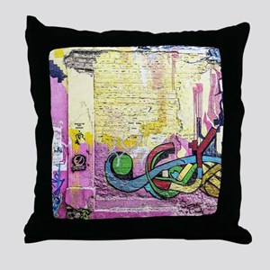 Neon Yellow & Pink Graffiti Throw Pillow
