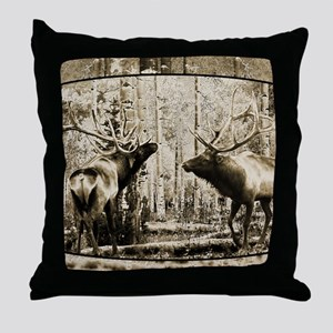 Bull elk face off Throw Pillow